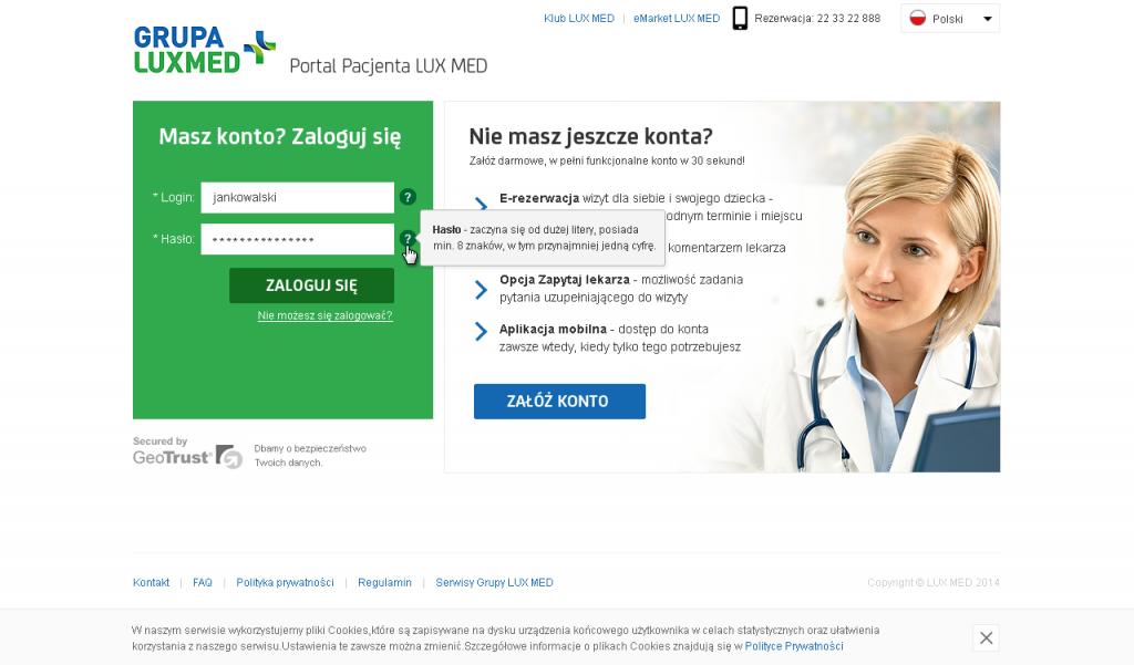 Grupa LUX MED: Portal Pacjenta - strona zakładania konta